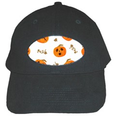 Funny Spooky Halloween Pumpkins Pattern White Orange Black Cap by HalloweenParty