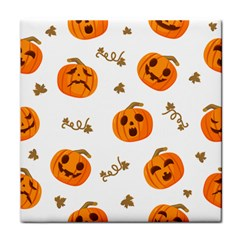 Funny Spooky Halloween Pumpkins Pattern White Orange Tile Coasters by HalloweenParty
