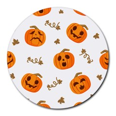 Funny Spooky Halloween Pumpkins Pattern White Orange Round Mousepads by HalloweenParty