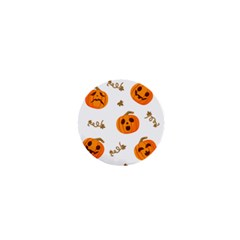 Funny Spooky Halloween Pumpkins Pattern White Orange 1  Mini Magnets