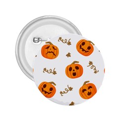 Funny Spooky Halloween Pumpkins Pattern White Orange 2 25  Buttons