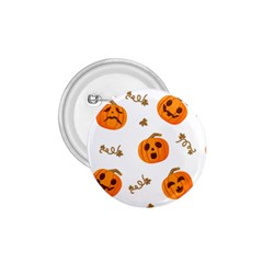 Funny Spooky Halloween Pumpkins Pattern White Orange 1 75  Buttons