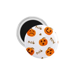 Funny Spooky Halloween Pumpkins Pattern White Orange 1 75  Magnets