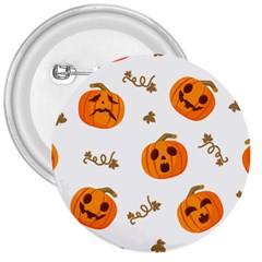 Funny Spooky Halloween Pumpkins Pattern White Orange 3  Buttons