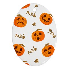 Funny Spooky Halloween Pumpkins Pattern White Orange Ornament (oval)