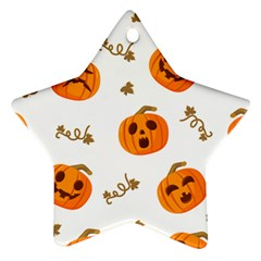 Funny Spooky Halloween Pumpkins Pattern White Orange Ornament (star) by HalloweenParty