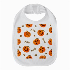 Funny Spooky Halloween Pumpkins Pattern White Orange Bib