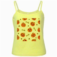 Funny Spooky Halloween Pumpkins Pattern White Orange Yellow Spaghetti Tank