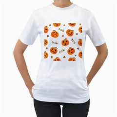 Funny Spooky Halloween Pumpkins Pattern White Orange Women s T Shirt (white) (two Sided)
