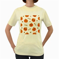 Funny Spooky Halloween Pumpkins Pattern White Orange Women s Yellow T Shirt