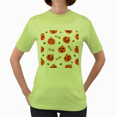 Funny Spooky Halloween Pumpkins Pattern White Orange Women s Green T Shirt