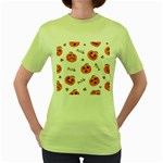 Funny Spooky Halloween Pumpkins Pattern White Orange Women s Green T-Shirt Front