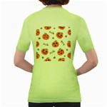 Funny Spooky Halloween Pumpkins Pattern White Orange Women s Green T-Shirt Back