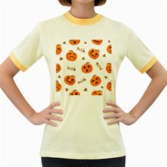 Funny Spooky Halloween Pumpkins Pattern White Orange Women s Fitted Ringer T Shirt