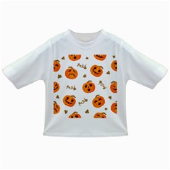 Funny Spooky Halloween Pumpkins Pattern White Orange Infant/toddler T Shirts