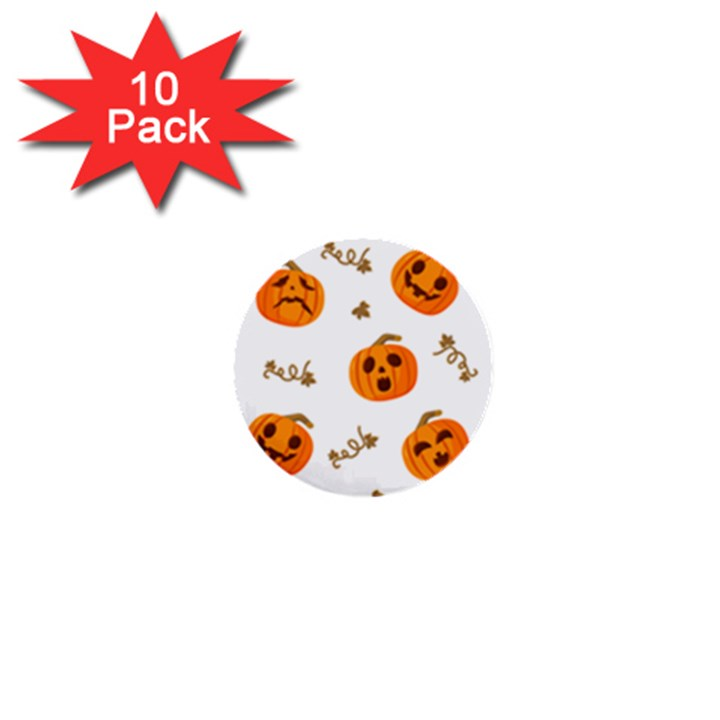 Funny Spooky Halloween Pumpkins Pattern White Orange 1  Mini Buttons (10 pack)