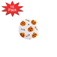 Funny Spooky Halloween Pumpkins Pattern White Orange 1  Mini Magnet (10 Pack)