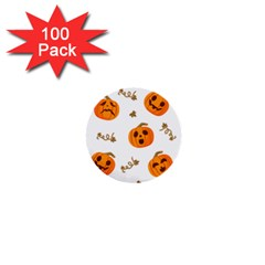 Funny Spooky Halloween Pumpkins Pattern White Orange 1  Mini Buttons (100 Pack)