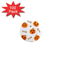 Funny Spooky Halloween Pumpkins Pattern White Orange 1  Mini Magnets (100 Pack)