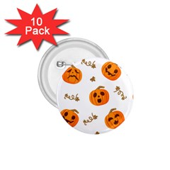 Funny Spooky Halloween Pumpkins Pattern White Orange 1 75  Buttons (10 Pack)