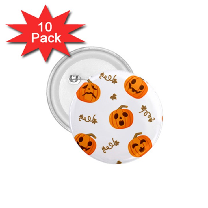 Funny Spooky Halloween Pumpkins Pattern White Orange 1.75  Buttons (10 pack)