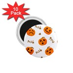 Funny Spooky Halloween Pumpkins Pattern White Orange 1.75  Magnets (10 pack)  Front
