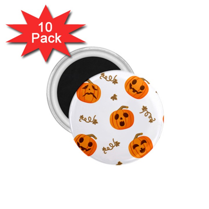 Funny Spooky Halloween Pumpkins Pattern White Orange 1.75  Magnets (10 pack)