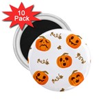 Funny Spooky Halloween Pumpkins Pattern White Orange 2.25  Magnets (10 pack)  Front