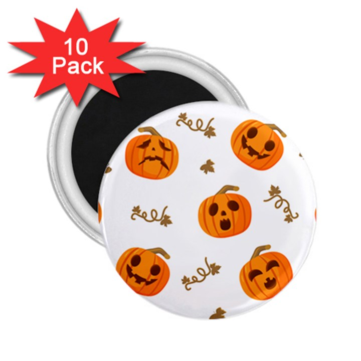 Funny Spooky Halloween Pumpkins Pattern White Orange 2.25  Magnets (10 pack)
