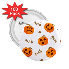 Funny Spooky Halloween Pumpkins Pattern White Orange 2 25  Buttons (100 Pack)