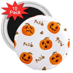 Funny Spooky Halloween Pumpkins Pattern White Orange 3  Magnets (10 Pack)  by HalloweenParty