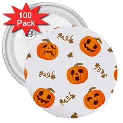 Funny Spooky Halloween Pumpkins Pattern White Orange 3  Buttons (100 Pack)