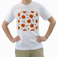 Funny Spooky Halloween Pumpkins Pattern White Orange Men s T Shirt (white) (two Sided)