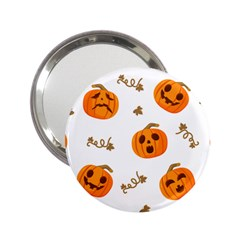 Funny Spooky Halloween Pumpkins Pattern White Orange 2 25  Handbag Mirrors