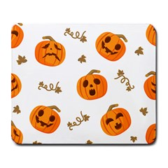 Funny Spooky Halloween Pumpkins Pattern White Orange Large Mousepads