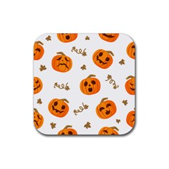 Funny Spooky Halloween Pumpkins Pattern White Orange Rubber Coaster (square)