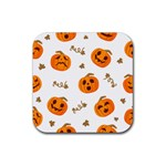 Funny Spooky Halloween Pumpkins Pattern White Orange Rubber Coaster (Square)  Front
