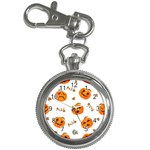 Funny Spooky Halloween Pumpkins Pattern White Orange Key Chain Watches Front