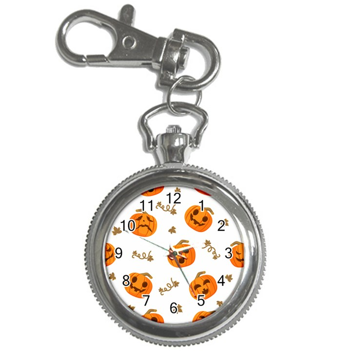 Funny Spooky Halloween Pumpkins Pattern White Orange Key Chain Watches