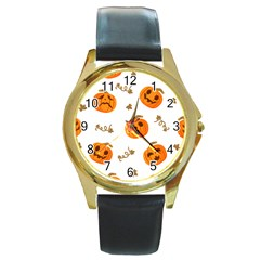 Funny Spooky Halloween Pumpkins Pattern White Orange Round Gold Metal Watch
