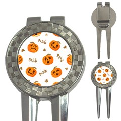 Funny Spooky Halloween Pumpkins Pattern White Orange 3 In 1 Golf Divots