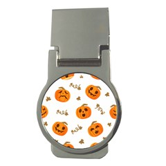 Funny Spooky Halloween Pumpkins Pattern White Orange Money Clips (round)  by HalloweenParty