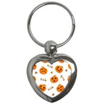 Funny Spooky Halloween Pumpkins Pattern White Orange Key Chains (Heart)  Front