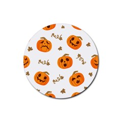 Funny Spooky Halloween Pumpkins Pattern White Orange Rubber Round Coaster (4 Pack)