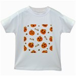 Funny Spooky Halloween Pumpkins Pattern White Orange Kids White T-Shirts Front