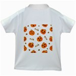 Funny Spooky Halloween Pumpkins Pattern White Orange Kids White T-Shirts Back