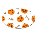 Funny Spooky Halloween Pumpkins Pattern White Orange Oval Magnet Front