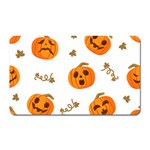 Funny Spooky Halloween Pumpkins Pattern White Orange Magnet (Rectangular) Front