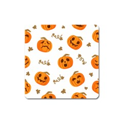 Funny Spooky Halloween Pumpkins Pattern White Orange Square Magnet
