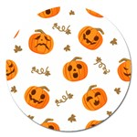 Funny Spooky Halloween Pumpkins Pattern White Orange Magnet 5  (Round) Front
